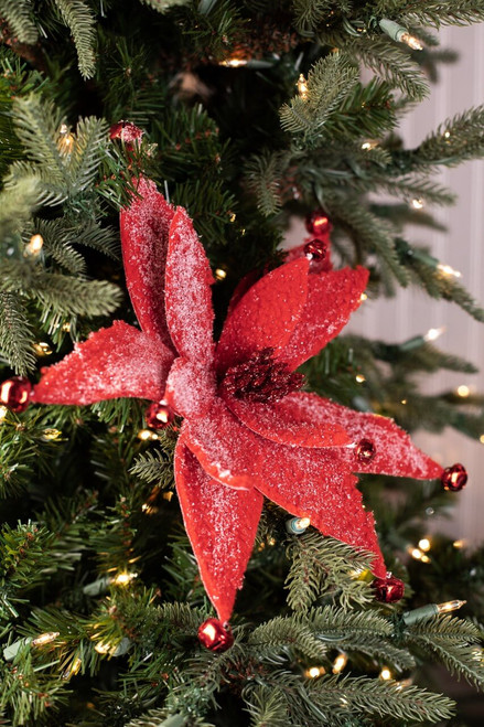Frosted Red Poinsettia Stem Christmas Tree Flowers