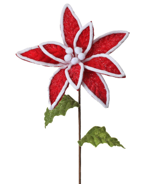 Red and White Frosted Poinsettia Stem Christmas Tree Flower