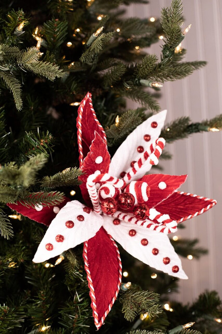 Red and White Peppermint Poinsettia Christmas Tree Flower