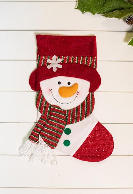 "21"" Red White Snowman Stocking"