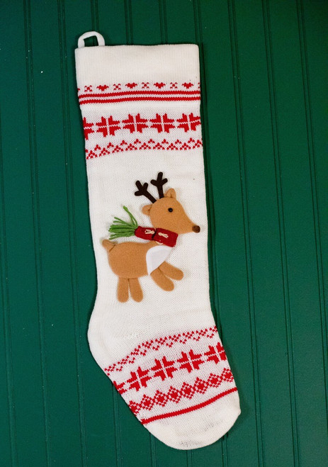 Knit Reindeer Red and White Christmas Stocking