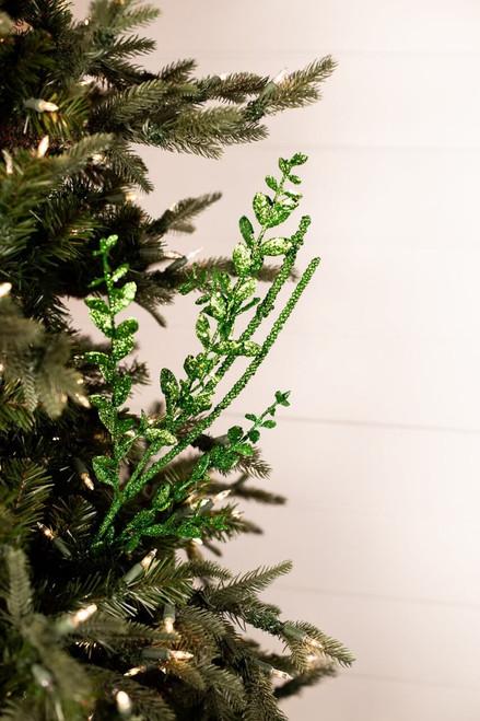 Green Glitter Sequin Boxwood Berry Stick Spray