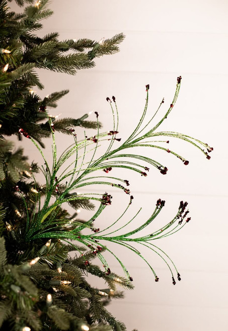 Green and Red Glitter Grass Christmas Tree Spray