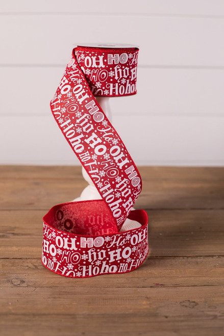 Ho Ho Red and White Christmas Tree Ribbon