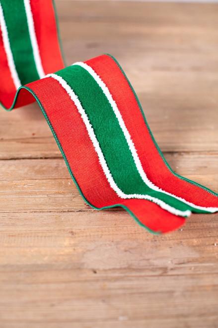 Red Green Burlap Christmas Ribbon White Snow Trim