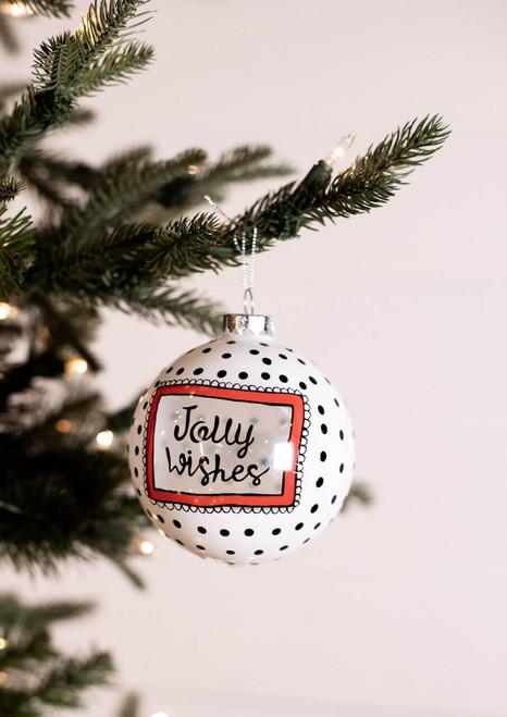 Jolly Wishes Glass Polka Dot Christmas Ornament