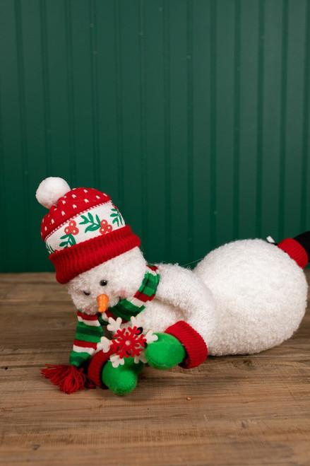 Plush Whimsical Ice Skating Hanging Snowman