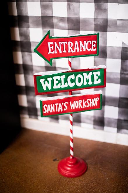 Metal Santa's Workshop Welcome Sign