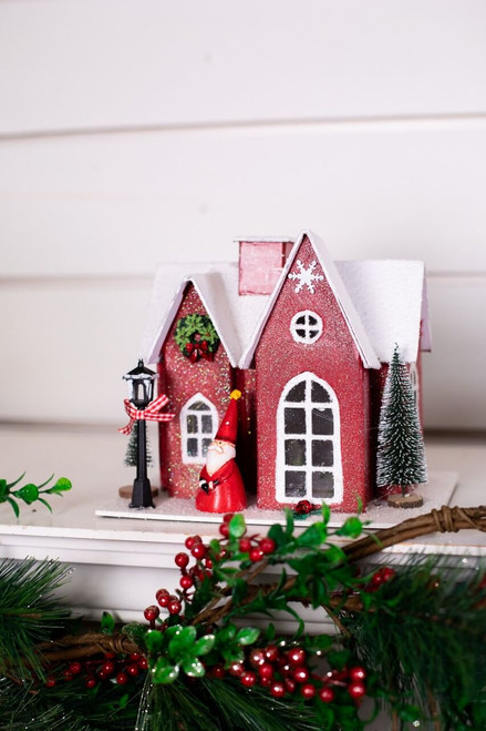 Red Light Up Christmas Cottage