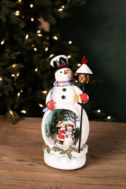 Resin Light Up Musical Snowman w/ Lamp Diorama