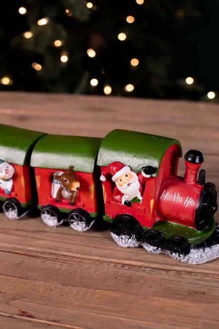 Red Resin Santa Train - Set of 4