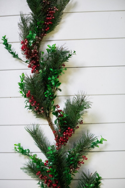 6' Iced Mixed Boxwood Pine Berry Garland