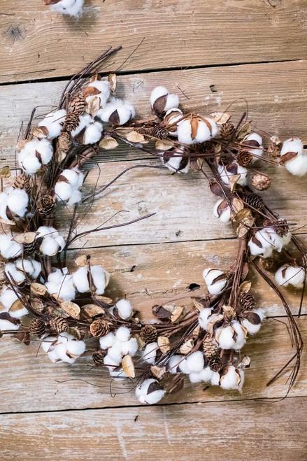"""24"""" Cotton Wreath with Mini Cones & Twigs"""