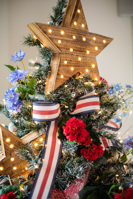 LED Battery Operated Wooden Star