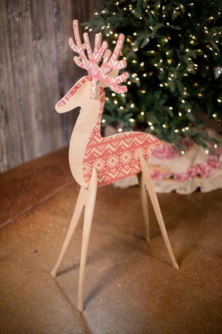 Red Dimensional Deer Décor