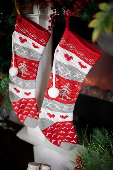Knit Red & Gray Fabric Christmas Stocking