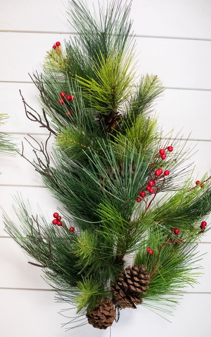 """28"""" Pine Teardrop with Berry Cone"""