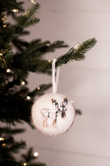 Iced Moose Felt Ball Christmas Tree Ornaments