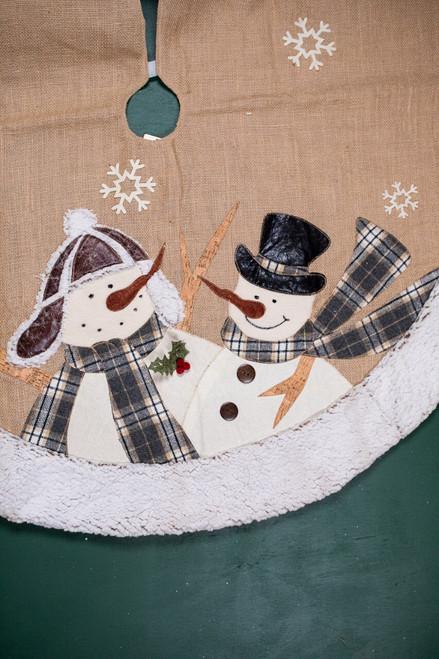 Burlap Wool Edge Snowman Scene Tree Skirt