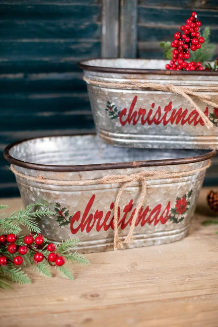 Galvanized Metal Christmas Containers - Set of 2