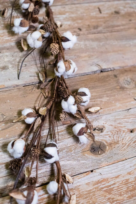 """48"""" Cotton with Mini Cones and Twigs Garland"""