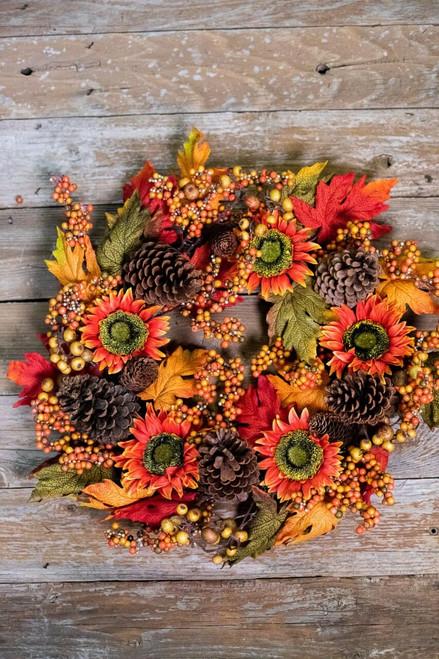 Fall Orange Sunflower and Pinecone Wreath
