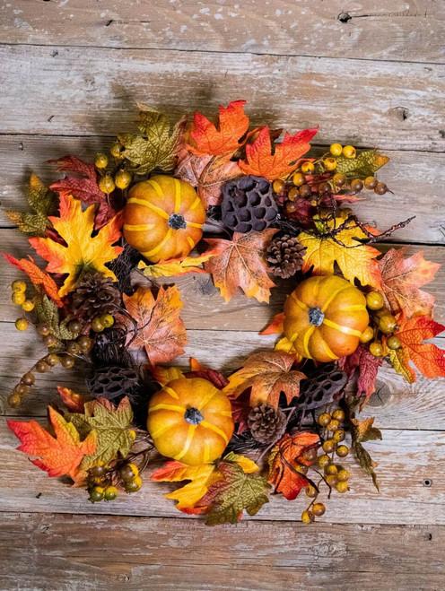 Fall Pumpkin and Honeycomb Wreath