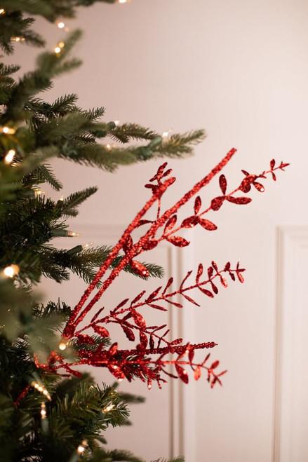 Glitter Sequin Boxwood Berry Stick Spray - Red