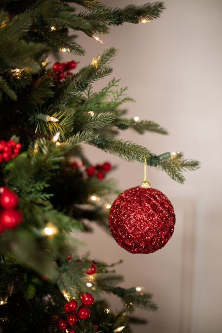 """4"""" Red Glittered Net Ball Christmas Tree Ornaments"""