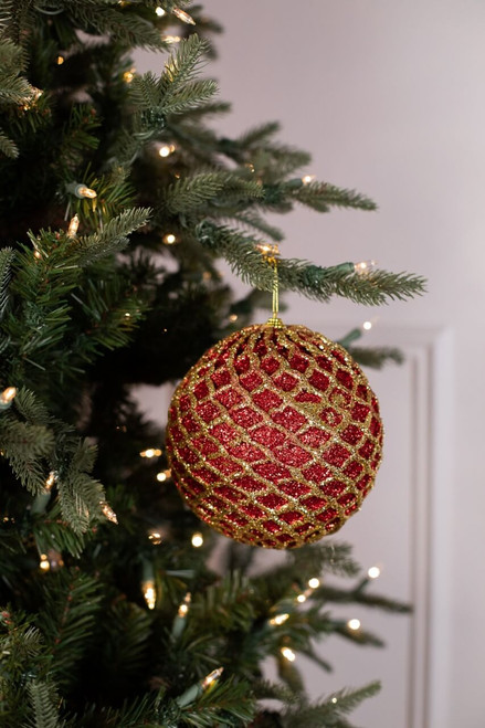"""6"""" Glittered 2 Tone Net Ball Christmas Tree Ornaments - Red/Gold"""