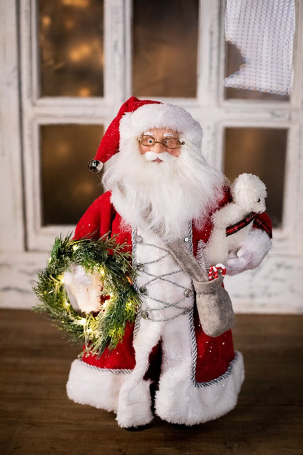 """18"""" Red Santa With Wreath"""