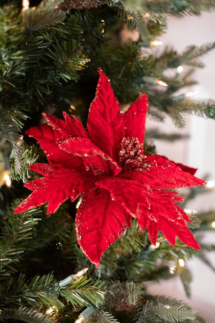 Velvet Gold Mix Glitter Poinsettia Stem Christmas Tree Flower