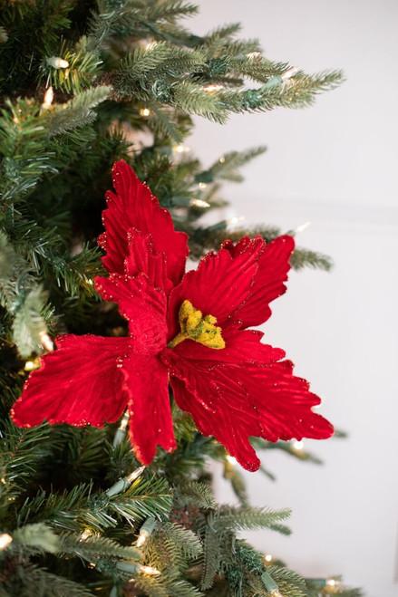 Red Glitter Edge Christmas Poinsettia Christmas Tree Flower