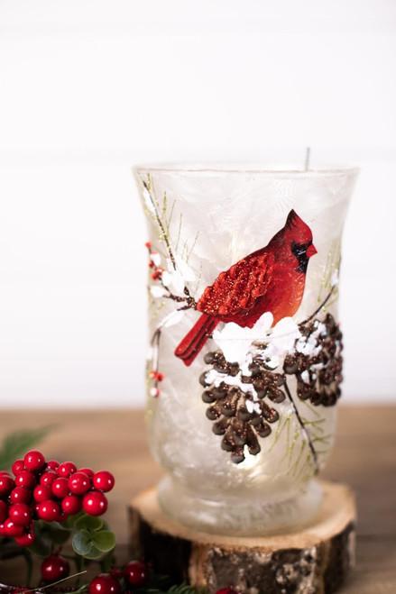 "8"" Glass Cardinal Pine Cone Vase"