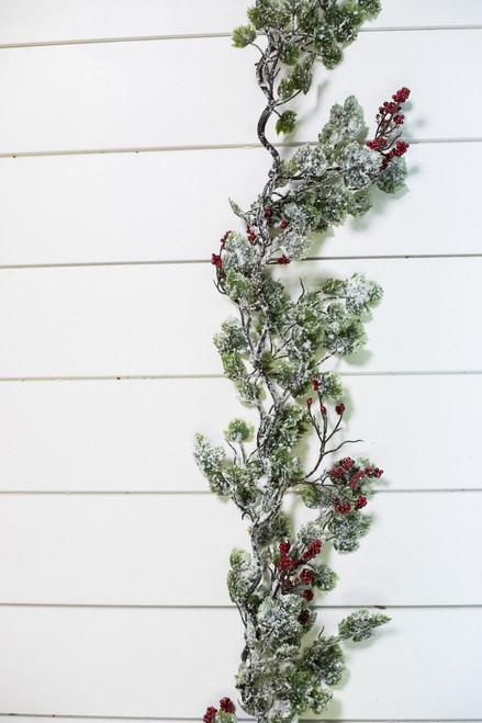 6' Snow Ivy Berry Garland