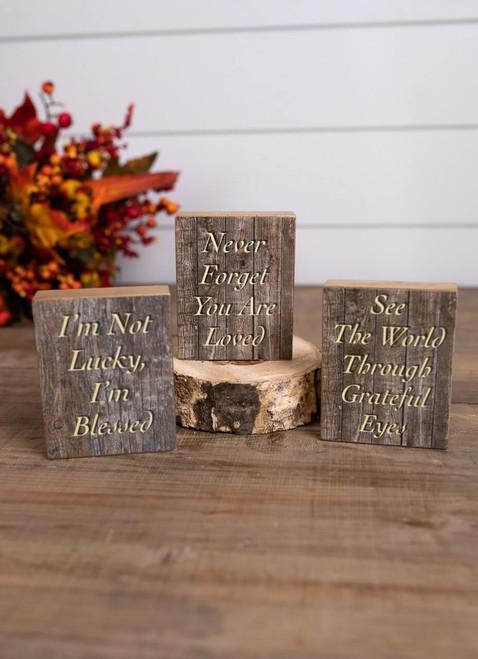 Grateful Wooden Fall Block Décor