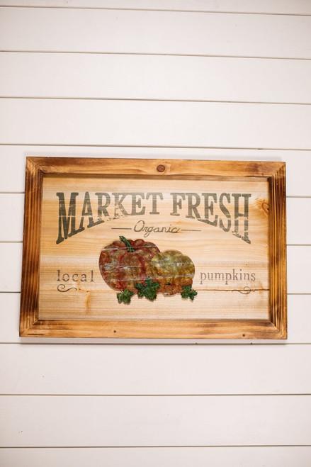 """""""Market Fresh"""" Pumpkin Wood Fall Wall Décor"""