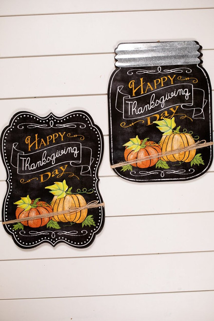 """""""Happy Thanksgiving Day"""" Fall Chalkboard Greeting Décor"""
