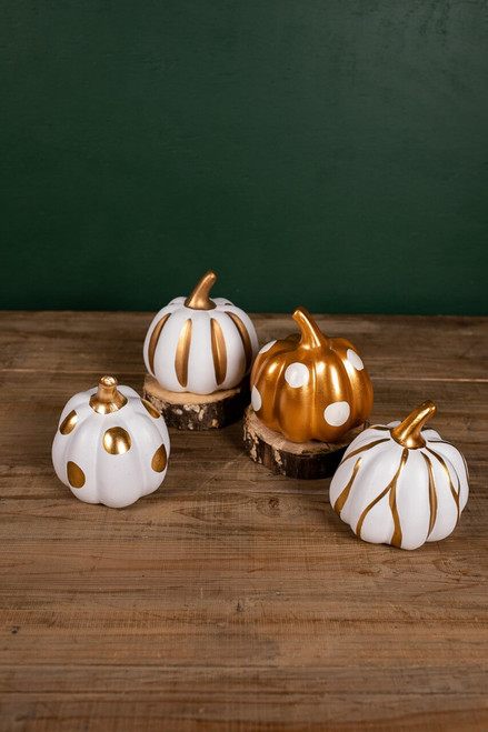 Gold and White Patterned Resin Pumpkin Décor