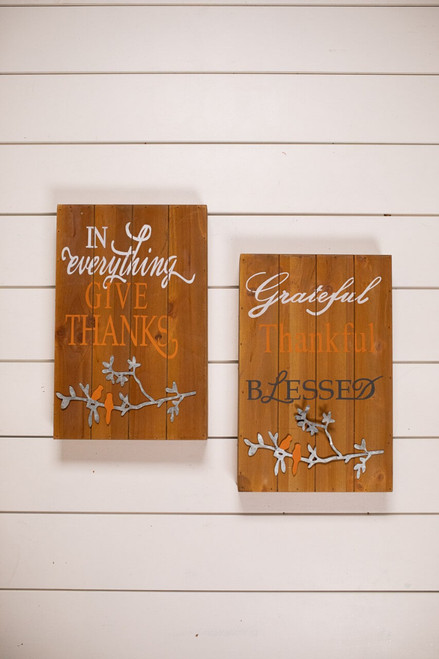 Wood and Metal Fall Greeting Wall Décor