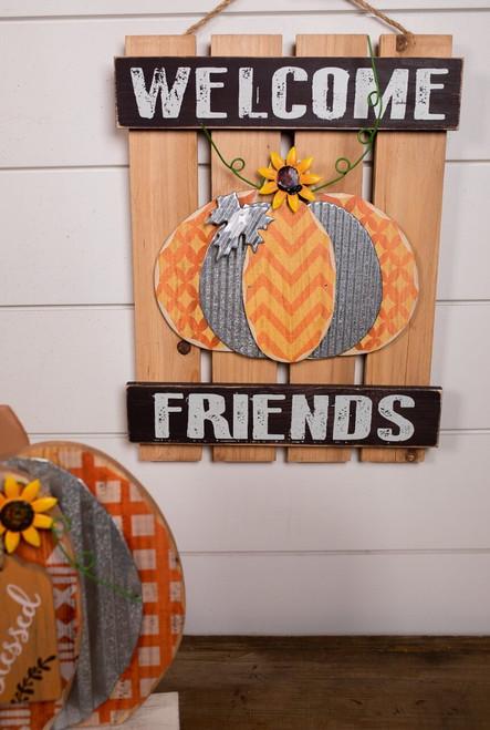 Wood and Metal Layered Fall Slat Sign