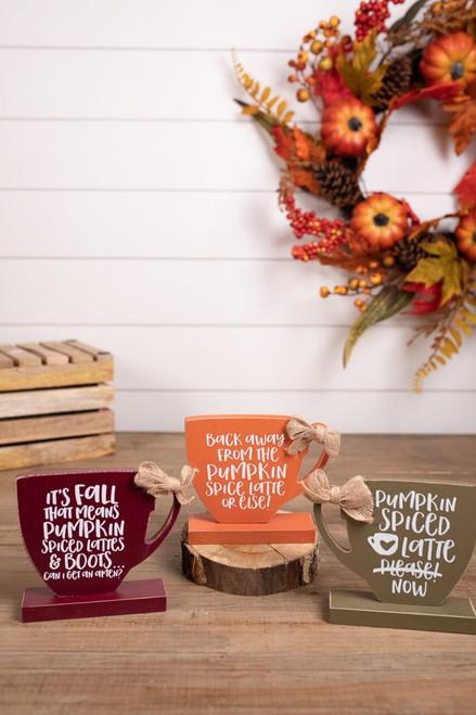 Pumpkin Spice Wooden Coffee Mug Block Décor