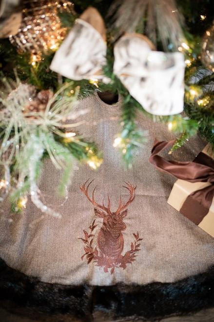 """54"""" Brown Herringbone Tree Skirt with Deer"""