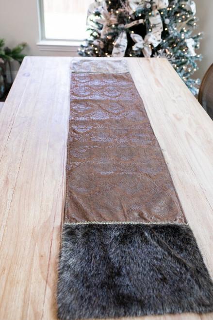 Brown Velvet Damask Table Runner with Fur