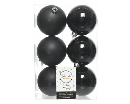 Black Assorted 8cm Shatterproof - Set of 6