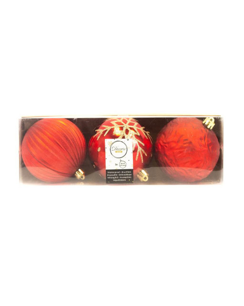 Christmas Red Assorted 10cm Shatterproof - Set of 3