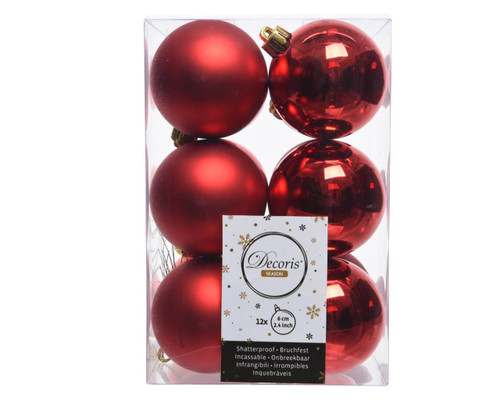 Christmas Red Assorted 6cm  Shatterproof - Set of 12