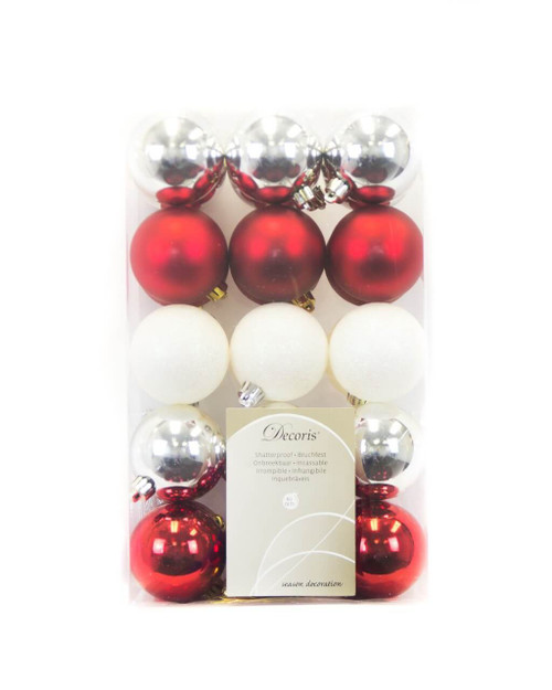Classic Assorted 60mm Shatterproof - Set of 30 (red, silver, white)