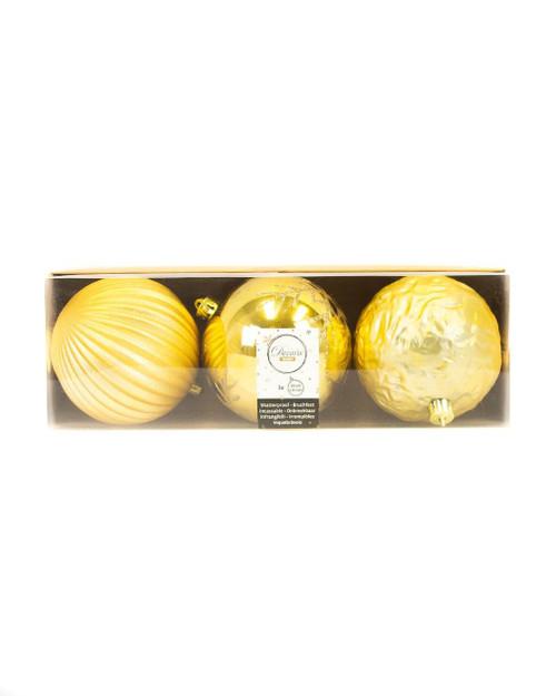 Light Gold Assorted 10cm Shatterproof - Set of 3