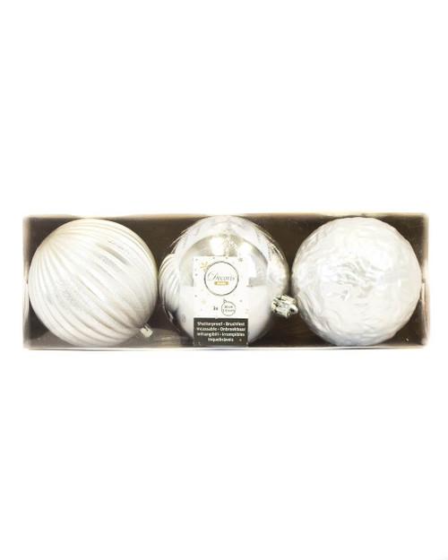 Silver Assorted 10cm Shatterproof - Set of 3